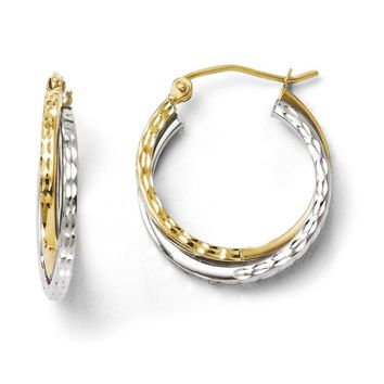 Crossover D/C Double Round Hoop Earrings in 10k Two Tone Gold, 20mm