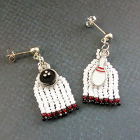 Bowling Charms, Beaded Earrings, White, Red, Black, Sports Jewelry, Kitschy Jewelry, Jewelry For Bowlers, Fun And Unique