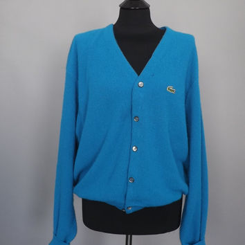 Vintage Retro Izod Lacoste VNeck Button Up Cardigan Sweater Mens Oversize Cerulean Blue Preppy Sportswear Size XL Large Mens Women's Hipster