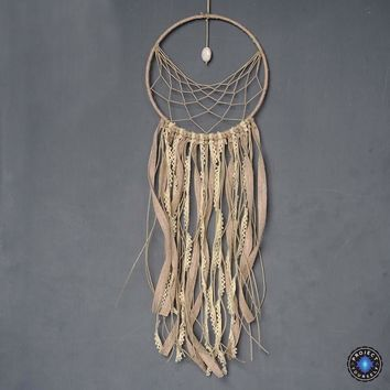 Half Weave Lace Dream Catcher with Natural White Stone Charm
