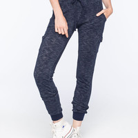Full Tilt French Terry Womens Cargo Jogger Pants Navy  In Sizes