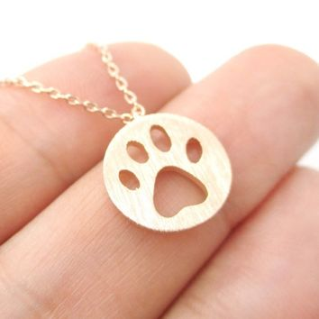 Dog Paw Print Dye Cut Coin Shaped Animal Charm Necklace in Rose Gold from DOTOLY