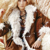 Elan Falling For You Brown Suede Fur Jacket