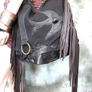 Dark brown & Black fringe bag bohemian purse  festival bag bird unique by sweetsmokebags gypsy free people tribal nature unique raw edges