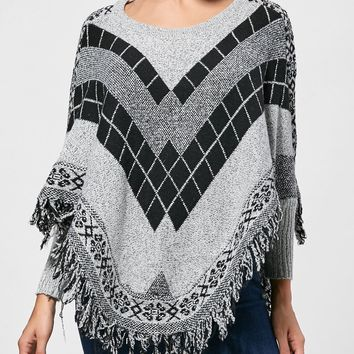 Asymmetric Batwing Graphic Poncho Fringed Sweater - ONE SIZE
