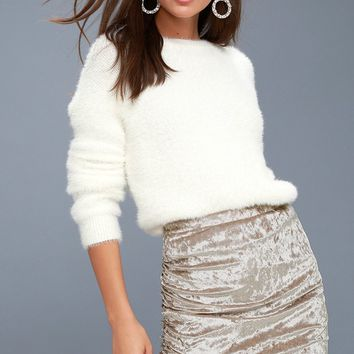 Surely Alluring Beige Crushed Velvet Mini Skirt