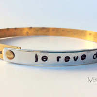 French Quote metal stamp bangle bracelet