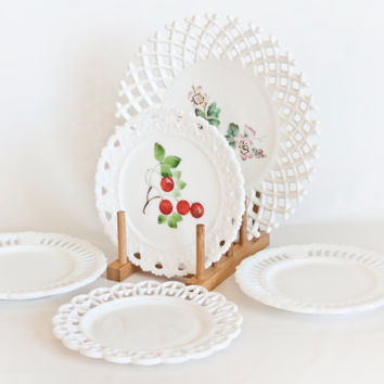 Vintage Milk Glass Plate Collection- 5 Lace Edge Hand Painted Milkglass Plates, Challinor Taylor Lattice, Kemple Heart, Wedding Decor