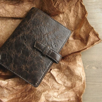 handstitched leather binder - oiled, dark coffee brown, leather planner, diary, refillable journal, leather organizer, for filofax inserts