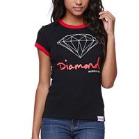 Diamond Supply Co Diamond Ringer T-Shirt - Womens Tee - Black