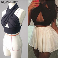 Fashion Sexy Women Halter Neck Bra Crop Tops Bustier Bralette Corset Tank = 5658712385