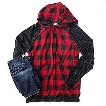 Red Buffalo Plaid Hoodie with Charcoal Sleeves