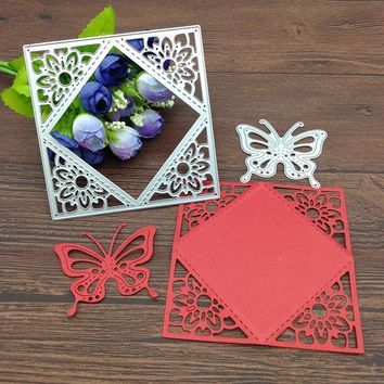 2pc flower butterfly square gift Metal Cutting Dies Stencil Scrapbooking Photo Album Card Paper Embossing Craft DIY
