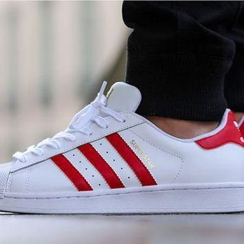 Originals Adidas Superstar Men's Women's Classic Sneaker Sprot Shoes White/Red - B27139