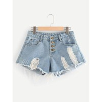 Button Fly Distressed Denim Shorts