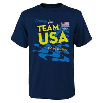 Licensed Sports Team USA 2016 Olympics Stacked T-Shirt - Navy KO_20_2