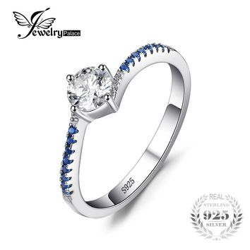 JewelryPalace Round 0.7ct Created Blue Nano Sapphire Anniversary Promise Engagement Ring Real 925 Sterling Silver Ring Jewelry
