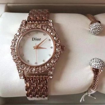 DCCKNQ2 Dior Women Fashion Trend Quartz Movement Diamonds Wristwatch Watch Set Two-Piece-1