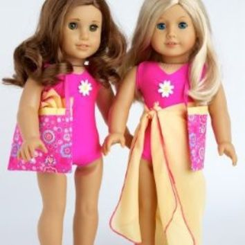 Beach Party - 3 piece outfit includes pink swimsuit, yellow wrap and beach bag - 18 Inch American Girl Doll Clothes (dolls not included)