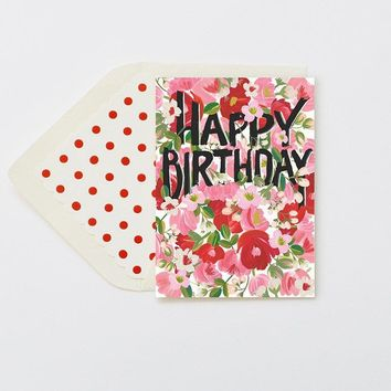 THE FIRST SNOW HAPPY BIRTHDAY RED/PINK BLOOMS CARD