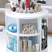 New 2015 Plastic White Round Rotation Cosmetic Organizer Drawer Makeup Storage Holder-in Storage Holders & Racks from Home & Garden on Aliexpress.com | Alibaba Group