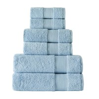 Pale Blue Turkish Cotton 6 Pc Bath Towel Set