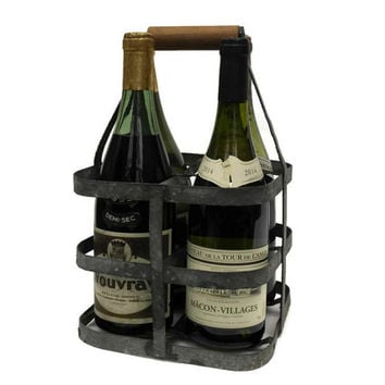 French Zinc Bottle Carrier. Vintage French Cafe Bottle Caddy. French Wine Bottle Holder.