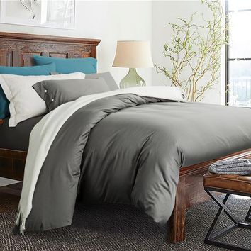 Silver Grey White Solid color Egyptian Cotton Soft Bed Sheet linen Pillowcase Duvet Cover Set Double Queen King Size Bedding Set