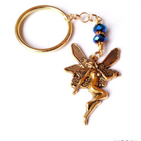 Fairy Keychain, Indigo Blue Crystal Glass Bead Goldtone Fairy Pendant Keychain, Blue Gold Keychain, Winged Gold Fairy Charm Fantasy Keychain