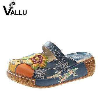 2017 Summer Women Shoes Flat Slides Platform Sandals Genuine Leather Handmade Flower Cover Toes Comfotable Women Slides