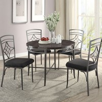 """Acme 70300-02 5 pc Burnett 42"""" round faux marble top and metal frame dining table set"""
