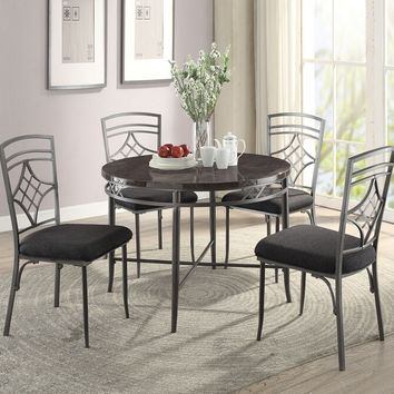 "Acme 70300-02 5 pc Burnett 42"" round faux marble top and metal frame dining table set"