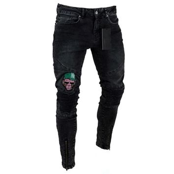 Jeans Skull Embroidered Slim Fit Men's Pants Casual Ripped Holes