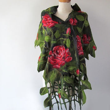 Nuno Felted scarf   rose red green flower