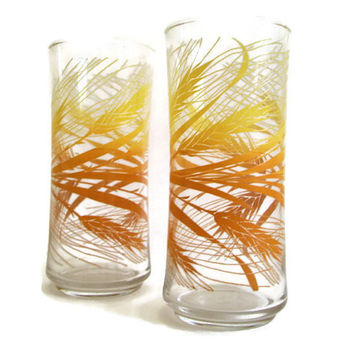Retro Libbey Glasses, Autumn Wheat Tumblers, Set of 2, Ice Tea Glasses, Yellow and Gold, Vintage, Summer Lemonade Glasses