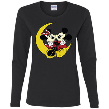 Merry Christmas and Happy New Year Mickey Mouse and moon  G540L Gildan Ladies' Cotton LS T-Shirt