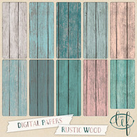 Wood Digital Papers / Distressed Backgrounds in rustic wood painted teal, white, and soft pink textures great for scrapbooking, making cards