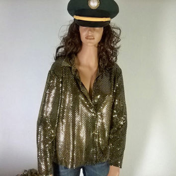 Gold sequined blouse, sz M, 80's metallic sheer glam top, Made in USA