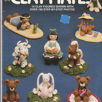 Fimo Clay-Mates booklet instructions for making 14 clay figures bear, bunny, girls, cow, horse, indian boy and girl by Cecilia Determan