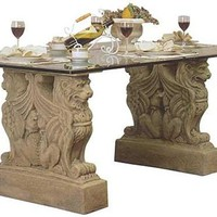 Lion Griffin European Castle Table Base 29H