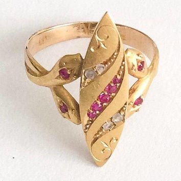 Ruby with Diamond Ring, 18K Gold, Snake Design, Art Deco Vintage Jewelry SPRING SALE