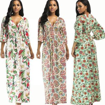 Europe and the United States printed sexy long skirt pleated skirt large size sleeve dress
