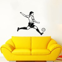 Soccer Decals Wall Sticker Sport Sportswoman Girl Women Decals Wall Vinyl Sticker Home Interior Wall Decor for Any Room Housewares Mural Design Graphic Bedroom Wall Decal Nursery Kids Baby Decor Children's Room Decals (5972)