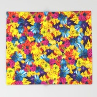 Rainbow Daisies Throw Blanket by Deluxephotos