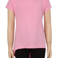 Tunic Top For Girls Short Sleeve Solid Pink Shirt: S/M/L/XL