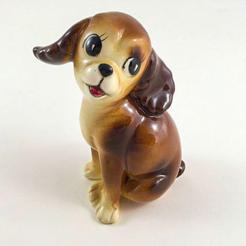 Vintage Dog Puppy Figurine Kitschy Dog Kitschy Puppy Dog Ceramic Dog With Eyelashes Mid Century Retro Kitsch Kitschy Home Decor