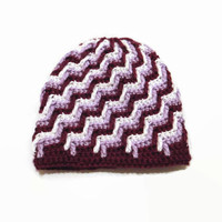 3-6 Month Baby Hat Beanie Purple Striped Hat