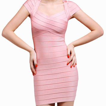Pink Cap Sleeve Bodycon Mini Dress