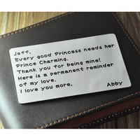 Wholesale Wallet card,Personalized card,custom Wallet Insert Card,Handstamp Jewelry,Gift for father's day,boyfriend,husband,love note