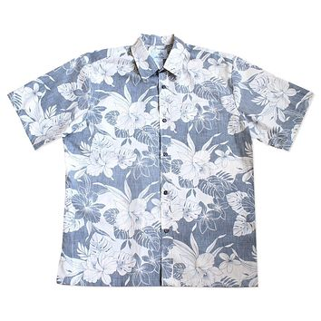 orchid shadow navy reverse print hawaiian cotton shirt
